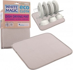 White Magic Eco Cloth Dish Drying Mat Pebble - 40x45cm