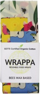 WRAPPA Organic Cotton Reusable Beeswax Food Wraps 3Pk Birds & Bees