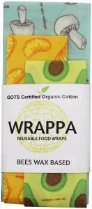 WRAPPA Organic Cotton Reusable Beeswax Food Wraps 3Pk Foodies