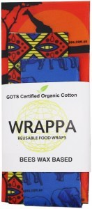 WRAPPA Organic Cotton Reusable Beeswax Food Wraps 3Pk Serengeti
