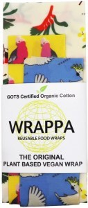 WRAPPA Organic Cotton Reusable Plant Based Food Wraps 3Pk Birds & Bees