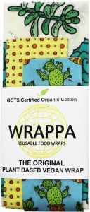 WRAPPA Organic Cotton Reusable Plant Based Food Wraps 3Pk Cacti