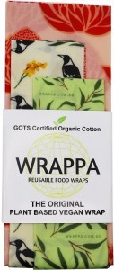 WRAPPA Organic Cotton Reusable Plant Based Food Wraps 3Pk Waratah
