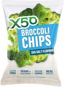 X50 Broccoli Chips Sea Salt  Vegan 10x60g