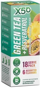 X50 Green Tea + Resveratrol Assorted 6 Flavour 18 Sachets