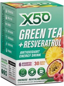 X50 Green Tea + Resveratrol Assorted 6 Flavour 30 Sachets