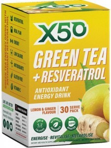 X50 Green Tea + Resveratrol Lemon & Ginger 30 Sachets