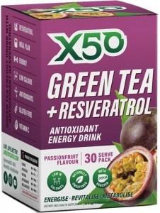 X50 Green Tea + Resveratrol Passionfruit 30 Sachets