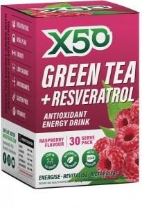 X50 Green Tea + Resveratrol Raspberry 30 Sachets