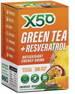 X50 Green Tea + Resveratrol Tropical 30 Sachets