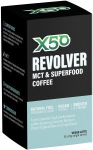 X50 Revolver MCT and Superfood Coffee Vegan Latte 10 x 10g Sachets