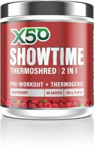 X50 Showtime Thermoshred 2 in 1 Raspberry  325g