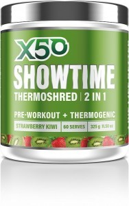 X50 Showtime Thermoshred 2 in 1 Strawberry Kiwi G/F 325g